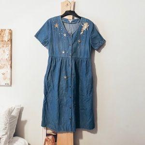 Vintage Denim Button Up Babydoll Dress Modo Maxi u